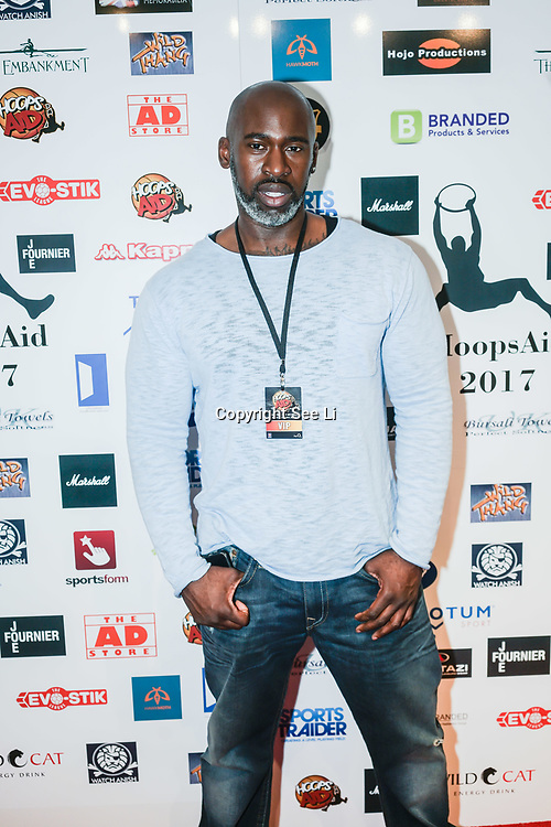 London,England,UK. 14th May 2017. Actor Fredi 'Kruga' Nwaka attends the BBL Play-Off Finals also fundraising for Hoops Aid 2017 but also a major fundraising opportunity for the Sports Traider Charity at London's O2 Arena, UK. by See Li