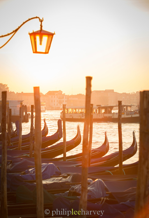 Gondolas as seen from St Marks Square.Venice, Italy, Europe