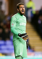 Swansea City goalkeeper Kritoffer Nordfeldt during the Carabao Cup, third round match at the Madejski Stadium, Reading.