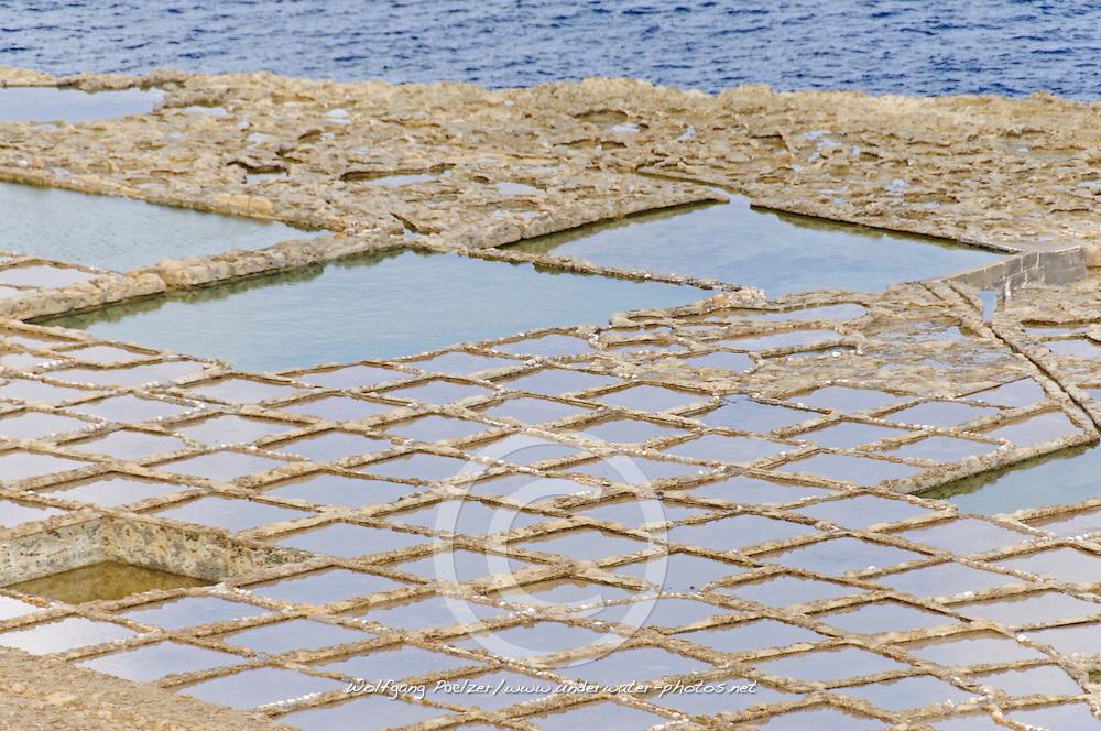 Salzfelder, Salt Flieds, Gozo, Malta, Sued Europa, Mittelmeer, Mare Mediterraneum, Sotuh Europe, Mediterranean Sea