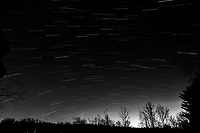 Winter Nighttime Sky Over New Jersey. Composite star trail image 03:00-03:29) taken with a Nikon D810a camera and 19 mm f/4 PC-E lens (ISO 400, 19 mm, f/8, 120 sec). Raw images processed with Capture One Pro and the composite created with Photoshop CC (statistics, maximum). Conversion to B&W with Capture One Pro.