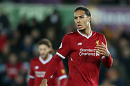 Virgil van Dijk of Liverpool looks on. Premier league match, Swansea city v Liverpool at the Liberty Stadium in Swansea, South Wales on Monday 22nd January 2018. <br /> pic by  Andrew Orchard, Andrew Orchard sports photography.