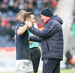 Falkirk's Tom Taiwo getting subbed with Falkirk's manager Peter Houston. Falkirk 3 v 0 Dundee United, Scottish Championship game played 11/2/2017 at The Falkirk Stadium.