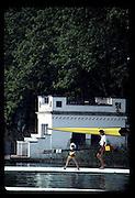 Barcelona Olympics 1992 - Lake Banyoles, SPAIN,  GV's,  Crews boating, Spanish/Moorish House round the lake,  Photo: Peter Spurrier