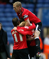 Photo: Steve Bond/Richard Lane Photography. Leicester City v Swansea City. FA Cup Third Round. 02/01/2010. David Cotterill (buried) is congratulated
