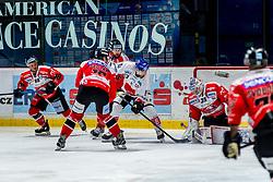 28.10.2019, Ice Rink, Znojmo, CZE, EBEL, HC Orli Znojmo vs HC TWK Innsbruck Die Haie, 17. Runde, im Bild v.l. Anthony Luciani (HC Orli Znojmo) Adam Sedlak (HC Orli Znojmo) Kevin Tansey (HC Orli Znojmo) Tyler Spurgeon (HC TWK Innsbruck) Teemu Tapio Lassila (HC Orli Znojmo) // during the Erste Bank Eishockey League 17th round match between HC Orli Znojmo and HC TWK Innsbruck Die Haie at the Ice Rink in Znojmo, Czechia on 2019/10/28. EXPA Pictures © 2019, PhotoCredit: EXPA/ Rostislav Pfeffer
