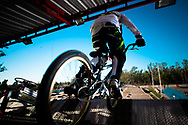 A rider bursts out the gate during practice at the UCI BMX Supercross World Cup in Santiago del Estero, Argentina.
