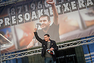 Basque politician Arnaldo Otegi gives a speach on his arrival to his hometown, after he was released from prison, where was since October 16, 2009. Elgoibar (Basque Country). March 1, 2016. Arnaldo Otegi is a politician, member of the Basque patriotic left movement, who was arrested acused of trying to rebuild Batasuna pro-independence party, and was given a ten year sentence. In may 2012 Otegi's sentence was reduced to 6 1/2 years by the Spanish Supreme Court, as they decided he was not part of ETA. (Gari Garaialde / Bostok Photo)