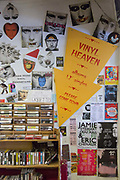 Vinyl Heaven sign at Flashback record shop on the 27th March 2018 in Islington, North London in the United Kingdom.