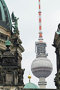 A view of the Berlin Cathedral (Berliner Dom) and the landmark 368-meters high TV-Tower (Fernsehturm) on Alexanderplatz Square in Berlin, Germany, April 08, 2012.