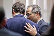 24 FEBRUARY 2010 --PRESCOTT, AZ: Attorney Luis Li (right) talks to his client, James Arthur Ray onthe second day of Ray's bond reduction hearing. The bond was ultimately reduced to about $500,000 from $5million. Sedona sweat lodge deaths. Homocide, manslaughter, crime.   PHOTO BY JACK KURTZ
