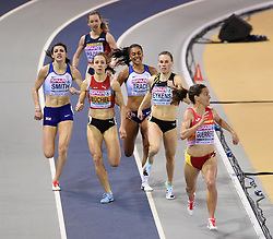 Spain's Esther Guerrero (right) races clear of the field on her way to winning the first semi final of the Women's 800m during day two of the European Indoor Athletics Championships at the Emirates Arena, Glasgow.
