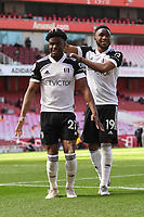 Football - 2020 /2021 Premier League - Arsenal v Fulham - Emirate Stadium<br /> <br /> Fulham's Josh Maja celebrates scoring the opening goal from the penalty spot with Ademola Lookman.<br /> <br /> COLORSPORT