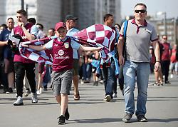 An Aston Villa fan during the Sky Bet Championship Final at Wembley Stadium, London.