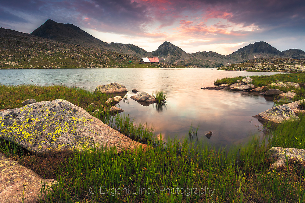 Shelter by a mountain lake