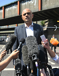 Communities Secretary Sajid Javid speaks to the media in Finsbury Park, north London, near where one man has died, eight people taken to hospital and a person arrested after a rental van struck pedestrians.