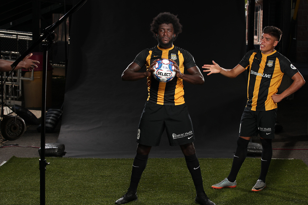 Neveal Hacksaw (8), Angelo Kelly (21)<br /> Media Day, Home Kits, Charleston Battery at MUSC Health Stadium in Charleston, S.C. on Tuesday, June 19, 2018.<br /> Zach Bland/Charleston Battery