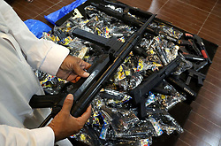 June 20, 2017 - Pakistan - PESHAWAR, PAKISTAN, JUN 20:  Officials show toy guns as the provincial administration of .KPK has launched a campaign against toy guns which is really hazard for children, at DC office .in Peshawar on Tuesday, June 20, 2017. (Credit Image: © PPI via ZUMA Wire)
