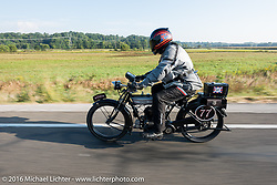 Richard Asprey of Texas riding his 1915 Norton during the Motorcycle Cannonball Race of the Century. Day-4 ride from Bloomington, IN to Cape Girardeau, MO. USA. Wednesday September 14, 2016. Photography ©2016 Michael Lichter.