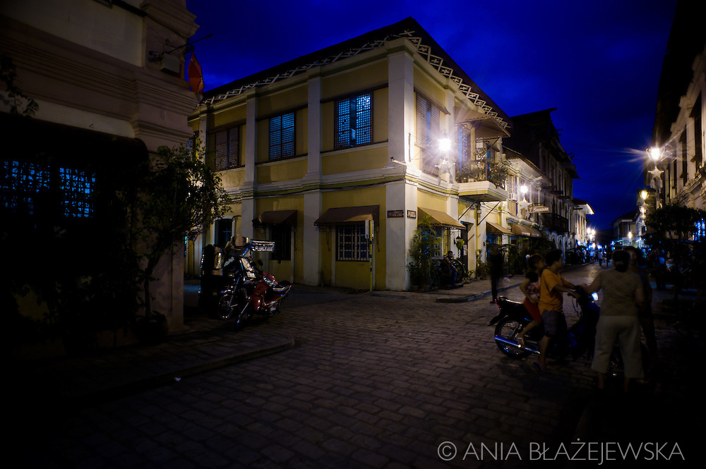 Street of Vigan at night.<br /> Ilocos Sur and Ilocos Norte are the Filipino provinces situated on Luzon Island and famous for heritage town of Vigan, windmills of Bangui, white sand beach of Pagudpud not to mention former president Marcos, who was born there.