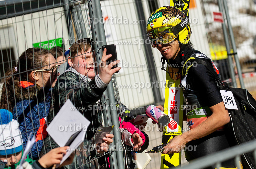 Noriaki Kasai (JPN) with fans during the Trial Round of the Ski Flying Hill Individual Competition at Day 1 of FIS Ski Jumping World Cup Final 2019, on March 21, 2019 in Planica, Slovenia. Photo by Vid Ponikvar / Sportida
