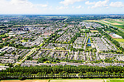 Nederland, Noord-Holland, Hoofddorp, 01-08-2016; overzicht Hoofddorp gezien naar centrum, diagonaal de Geniedijk. Gezien vanaf de rondweg.<br /> Overview Hoofddorp.<br /> luchtfoto (toeslag op standard tarieven);<br /> aerial photo (additional fee required);<br /> copyright foto/photo Siebe Swart