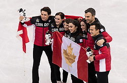 February 12, 2018 - Gangneung, South Korea - Scout Moir, Tessa Virtue, Megan Duhamel, Gabrielle Daleman, Kaetlyn Osmond, Patrick Cha, Eric Radford, and Patrick Chan of Canada celebrates their Gold medal in the Figure Skating Team Event at the PyeongChang 2018 Winter Olympic Games at Gangneung Ice Arena on Monday February 12, 2018. (Credit Image: © Paul Kitagaki Jr. via ZUMA Wire)