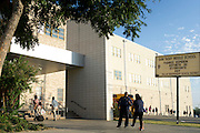 Students and faculty arrive at Sam Tasby Middle School in Dallas, Texas on October 2, 2014. Officials confirmed that a student at Sam Tasby Middle School had come in contact with the first confirmed Ebola virus patient in the United States. (Cooper Neill for The New York Times)