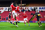Jacob Brown of Barnsley (33) scores a goal to make the score 1-0 during the EFL Sky Bet League 1 match between Barnsley and Bradford City at Oakwell, Barnsley, England on 12 January 2019.
