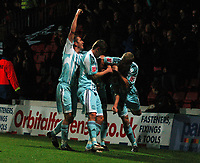 Photo: Richard Lane/Richard Lane Photography. Watford v Derby County. Coca Cola Championship. 12/12/2009. <br /> Chris Porter is mobbed by teammates after scoring a late winner for Derby