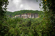 A remote former quarry mine cliff on 21st September 2018 in Umling district, Ri Bhoi, Meghalaya, India.