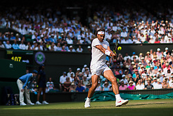 July 9, 2018 - London, England, U.S. - LONDON, ENG - JULY 09: RAFAEL NADAL (ESP) during day seven match of the 2018 Wimbledon on July 9, 2018, at All England Lawn Tennis and Croquet Club in London,England. (Photo by Chaz Niell/Icon Sportswire) (Credit Image: © Chaz Niell/Icon SMI via ZUMA Press)