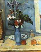 The Blue Vase', 1885-1887. Oil on canvas. Paul Cezanne (1839-1906) French Post-Impressionist painter.   Still Life Flowers Table Fruit.