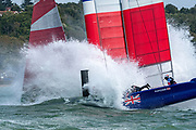 SailGP Team GBR bear away at the top mark and bury their bows. Race Day. Event 4 Season 1 SailGP event in Cowes, Isle of Wight, England, United Kingdom. 11 August 2019: Photo Chris Cameron for SailGP. Handout image supplied by SailGP