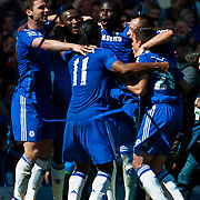 Chelsea players celebrate after Chelsea win the Premier League title against Crystal Palace at Stamford Bridge, London<br /> Picture by Jack Megaw/Focus Images Ltd +44 7481 764811<br /> 03/05/2015