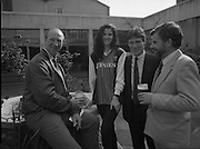 Frank Stapleton Testimonial.   (R77)..1988..25.04.1988..04.25.1988..25th April 1988..Today at the Guinness Reception Centre details of the testimonial match for Frank Stapleton were announced. Frank ,one of Ireland's greatest players,played 71 times for Ireland scoring 20 goals. During his illustrious career frank played for Arsenal, Manchester United and Ajax of Amsterdam. ..Frank Stapleton is pictured  with Republic of Ireland manager, Jack Charlton, Model, Anne Marie Gannon and  Tony Murtagh, Marketing Manager, Guinness at the reception to announce the testimonial. Anne Marie is modeling the Jersey which will be worn in the testimonial.