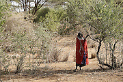 TANZANIA. Longido Mountain Area..August 3rd 2009..A Maasai woman..