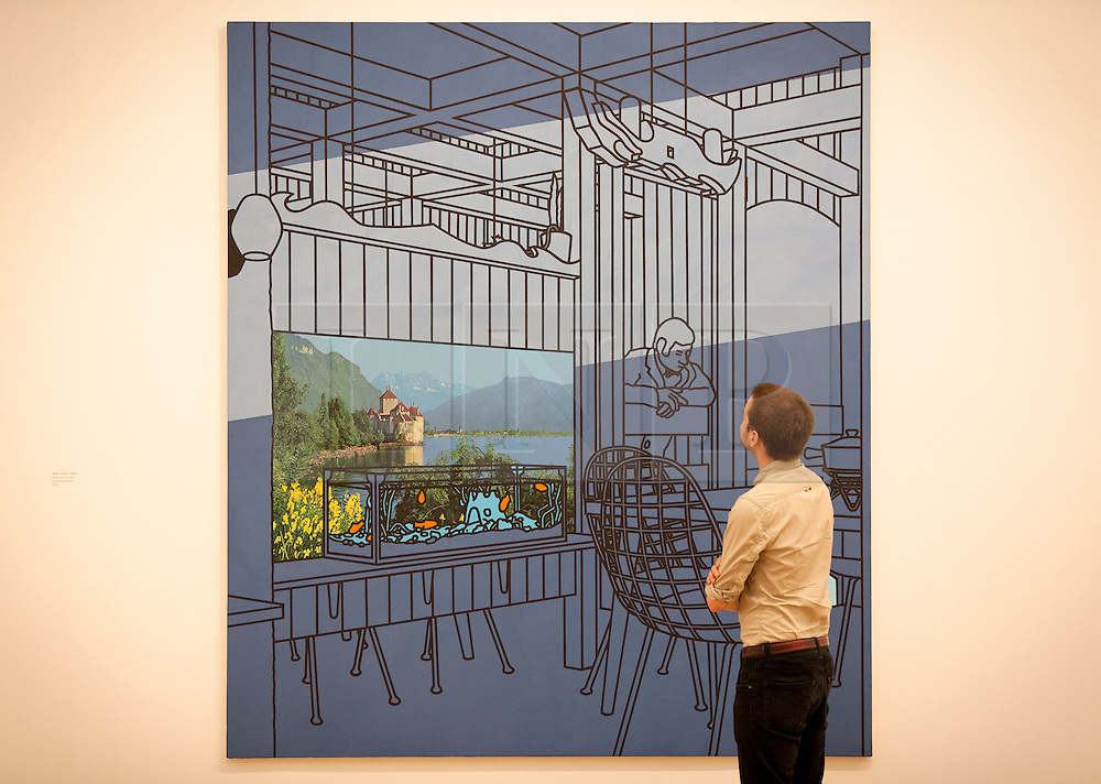 © Licensed to London News Pictures. 03/06/2013. London, UK. A Tate Britain employee views 'After Lunch' (1975) an acrylic painting by British artist Patrick Caulfield at the press view for an exhibition of his work at the Tate Britain in London today (03/06/2013). The exhibition, running in tandem with an exhibition by British artist Gary Hume, is open to the public from 5th June - 1st September 2013 at the Tate Britain. Photo credit: Matt Cetti-Roberts/LNP
