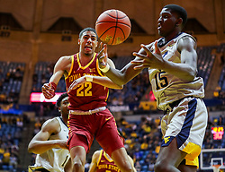 Mar 6, 2019; Morgantown, WV, USA; Iowa State Cyclones guard Tyrese Haliburton (22) reacts after missing the ball during the second half against the West Virginia Mountaineers at WVU Coliseum. Mandatory Credit: Ben Queen-USA TODAY Sports
