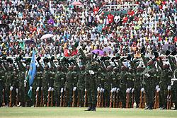 (170818) -- KIGALI, Aug. 18, 2017 (Xinhua) -- The Rwandan army receive inspection after the Paul Kagame's inauguration ceremony in Kigali, capital of Rwanda, on Aug. 18, 2017. Paul Kagame on Friday was sworn in as president of Rwanda for his third term in Kigali. (Xinhua/Lyu Tianran) (Photo by Xinhua/Sipa USA)