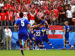 Luka Modric of Croatia scored the opening goal off the penalty spot during the UEFA EURO 2008 Group B soccer match between Austria and Croatia at Ernst-Happel Stadium, on June 8,2008, in Vienna, Austria.  (Photo by Vid Ponikvar / Sportal Images)