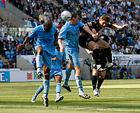 Photo: Steve Bond.<br />Coventry City v West Bromwich Albion. Coca Cola Championship. 28/04/2007. Zoltan Gera (R) heads for goal as Chris Birchall (C) challanges
