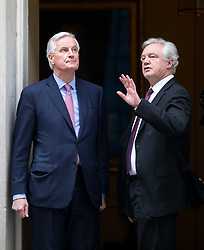 February 5, 2018 - London, London, UK - London, UK. European Chief Negotiator for the United Kingdom Exiting the European Union Michel Barnier and Secretary of State for Exiting the European Union David Davis arrive in Downing Street for a meeting on Brexit. (Credit Image: © Tom Nicholson/London News Pictures via ZUMA Wire)