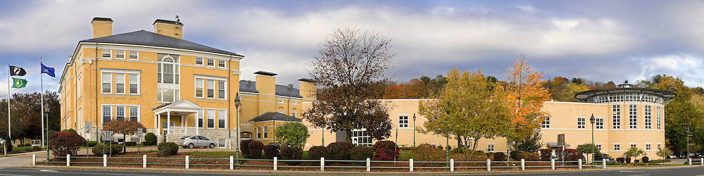 The main administration building and new library at Northwestern Community College in Winsted, CT.