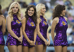 August 16, 2017 - Los Angeles, California, U.S - 16 Aug 2017. The Los Angeles Dodgers play the Chicago White Sox in the second game of a two-game series at Dodger Stadium. Pictured are the Laker Girls celebrating Laker night at Dodger Stadium. (Credit Image: © Prensa Internacional via ZUMA Wire)