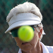 Margaret Robinson, Australia, in action in the 75 Womens Singles during the 2009 ITF Super-Seniors World Team and Individual Championships at Perth, Western Australia, between 2-15th November, 2009.