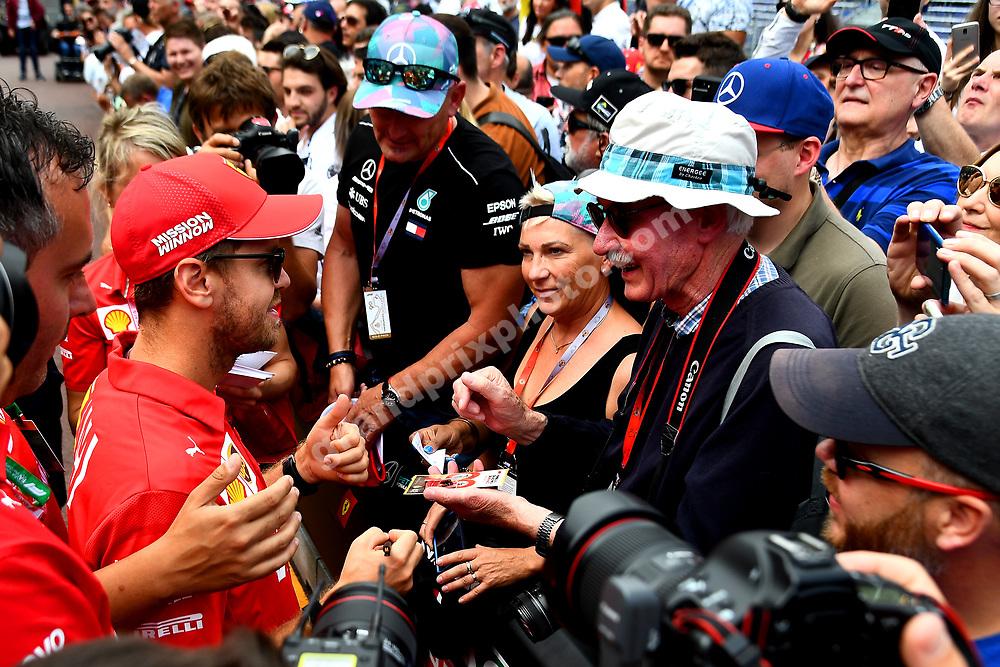 Sebastian Vettel (Ferrari) signing autographs before the 2019 Monaco Grand Prix. Photo: Grand Prix Photo