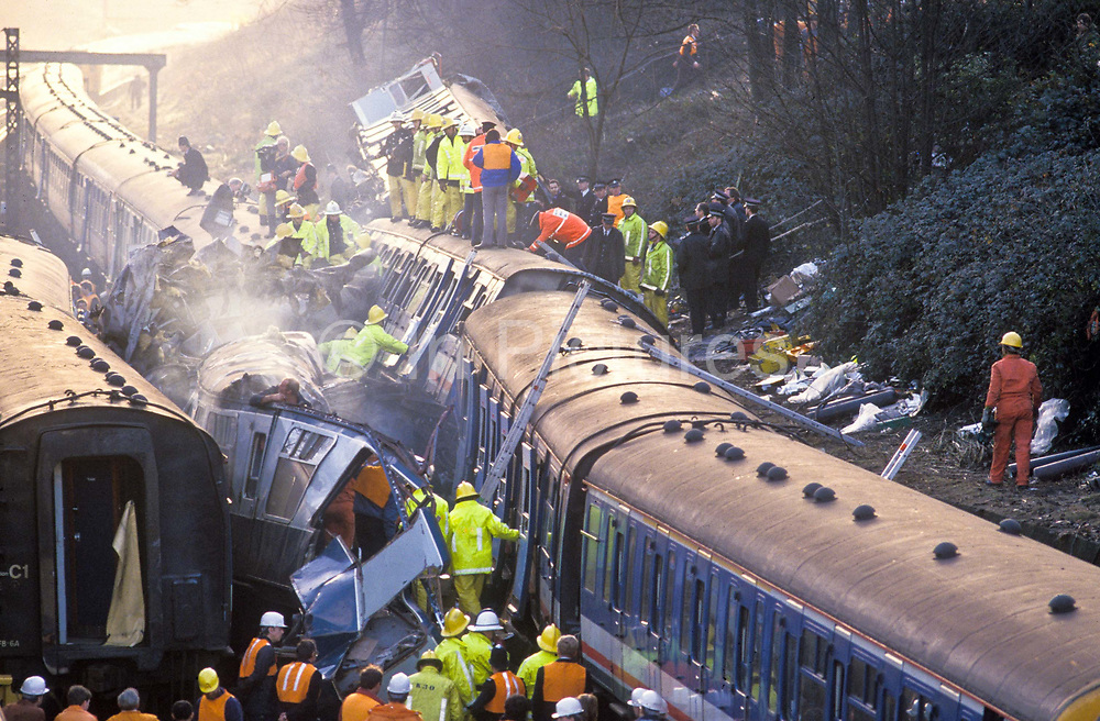 The Clapham rail disater  which claimed the lives of  thirty-five people and five hundred injured, making the crash one of the worst in the UK in recent times involving two collisions between three commuter trains at 08:10 on the morning of Monday, 12 December 1988.