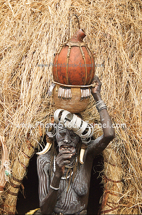 Africa, Ethiopia, Debub Omo Zone, Mursi tribesmen. A nomadic cattle herder ethnic group located in Southern Ethiopia, close to the Sudanese border. Woman with clay lip disc as body ornaments