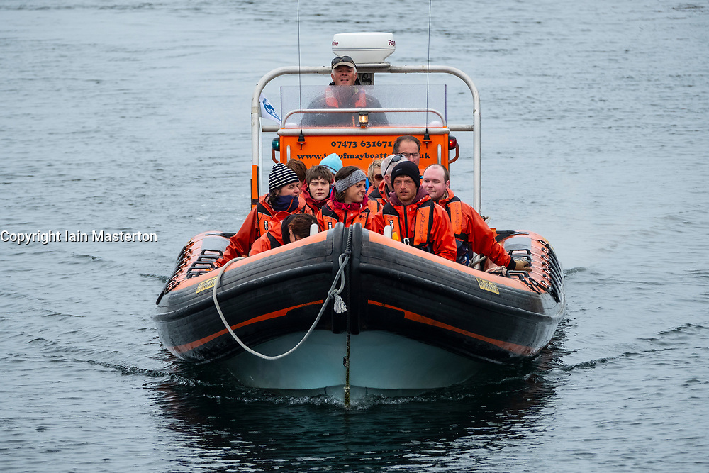 Fast rib boat with visitors to Isle of May National Nature Reserve, Firth of Forth, Scotland, UK